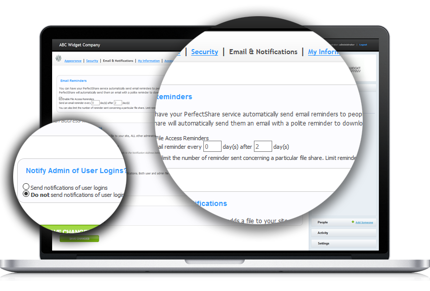 PerfectShare lets you select the methods you receive notifications, and how employees and customers receive them